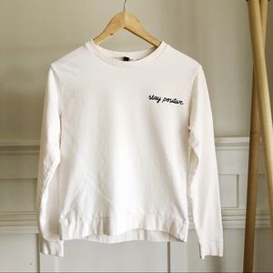 """3 for $15 Cream H&M long sleeve """"Stay Positive"""""""